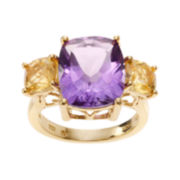 Genuine Amethyst and Citrine 14K Gold Over Silver Ring