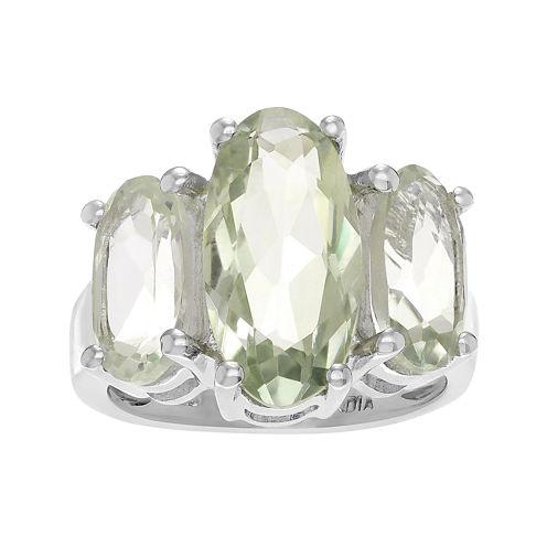 Genuine Green Amethyst Sterling Silver Ring