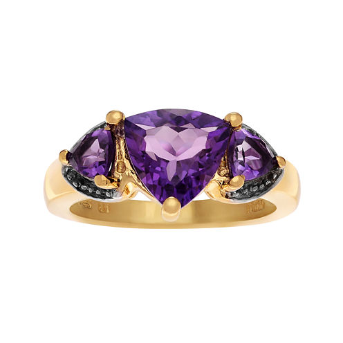 Genuine Purple Amethyst 14K Gold Over Silver Ring