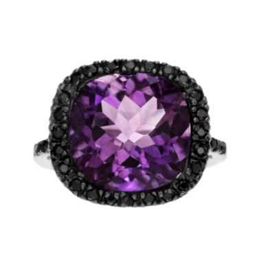 jcpenney.com | Genuine Purple Amethyst & Black Spinel Sterling Silver Ring
