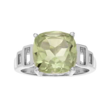 jcpenney.com | Genuine Green Amethyst & White Topaz Sterling Silver Ring