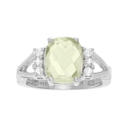 Genuine Green Quartz and White Topaz Sterling Silver Ring