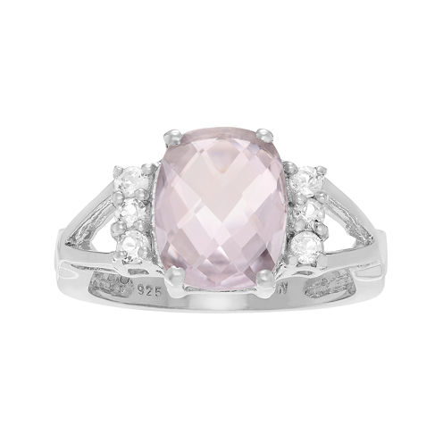 Genuine Pink Quartz and White Topaz Sterling Silver Ring