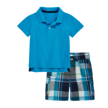 jcpenney.com | Arizona Short-Sleeve Pique Polo or Plaid Cargo Shorts - Baby Boys 3m-24m