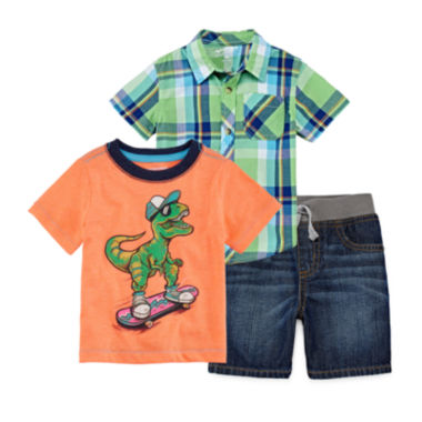 jcpenney.com | Arizona Plaid Tee or Dreamer Tee or Classic Denim Shorts - Baby Boys 3m-24m
