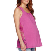 Planet Motherhood Maternity Crochet Lace Tank Top