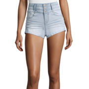 Blue Spice High-Waist Button Stacked Shorts