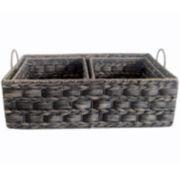 Baum-Essex 3-pc. Black Wash Water Hyacinth Sweater and Shelf Basket Set