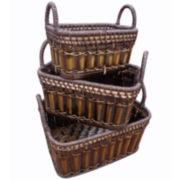 Baum-Essex Set of Three Storage Baskets with Ear Handles