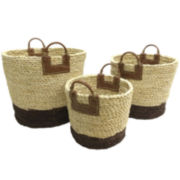 Baum-Essex Set of Three Maize Rope Baskets