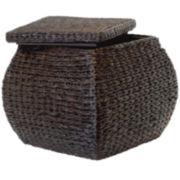 Baum-Essex Square Bulge Havana Weave Rush Storage Ottoman with Lift-off Lid