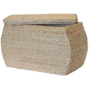 Baum-Essex Rectangular Bulge Havana Weave Rush Storage Ottoman with Lift-off Lid