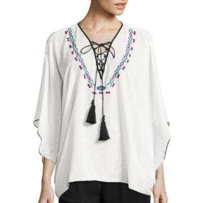 Bisou Bisou® Long-Sleeve Lace-Up Embroidered Kaftan Top