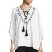 Bisou Bisou® Long-Sleeve Lace-Up Embroidered Kaftan Top