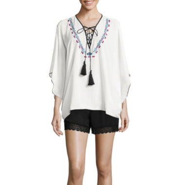 jcpenney.com | Bisou Bisou® Lace-Up Embroidered Kaftan Top or Smocked Lace Shorts