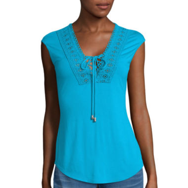 jcpenney.com | Bisou Bisou® Lace-Up Top