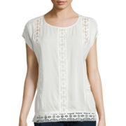 a.n.a® Lace Trim Woven Top