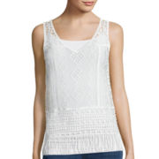 a.n.a® V-Neck Crochet Tank Top