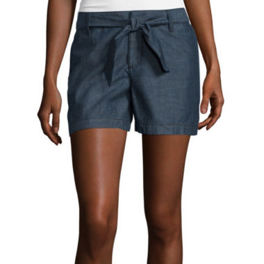 jcpenney.com | a.n.a® Mid-Rise Sash Denim Shorts - Tall