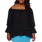Bisou Bisou® Long-Sleeve Off-The-Shoulder Top - Plus
