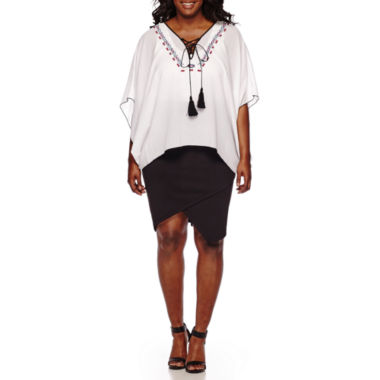 jcpenney.com | Bisou Bisou® Short-Sleeve Lace-Up Embroidered Top and Asymmetrical Pencil Skirt - Plus