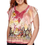 Unity® Short-Sleeve Lace Yoke Flutter Top - Plus