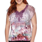Unity® Short-Sleeve Lace Yoke Flutter Top - Plus