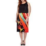 Worthington® Mixed Media Ruffle Detail Tank Top or Simple Side Slit Pencil Skirt - Plus