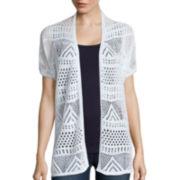 St. John's Bay® Short-Sleeve Pointelle Flyaway Cardigan - Tall