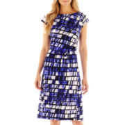 9 & Co.® Side-Ruched Print Dress