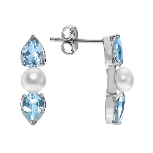 Journee Collection Genuine Blue Topaz and Simulated Pearl Sterling Stud Earrings