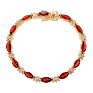 jcpenney.com | Genuine Garnet and White Topaz 14K Gold Over Silver Bracelet