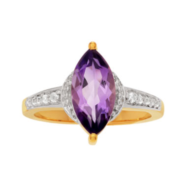 jcpenney.com | Genuine Amethyst and White Topaz 14K Gold Over Silver Ring