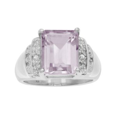 jcpenney.com | Genuine Pink Quartz and White Topaz Sterling Silver Ring