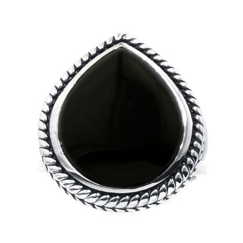 Genuine Black Onyx Sterling Silver Teardrop Ring