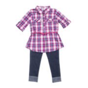 Little Lass® 3-pc. Flannel, Jeans and Belt Set - Toddler Girls 2t-4t