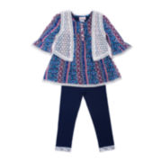 Little Lass® Blue Aztec Vest and Pants Set - Preschool Girls 4-6x
