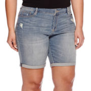 Arizona Destructed Bermuda Shorts - Juniors Plus