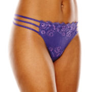 Ambrielle® Strappy Lace Thong Panties