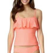 Arizona Peek-A-Boo Lasercut Flounce Tankini Swim Top - Juniors