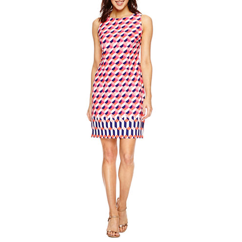 Studio 1 Sleeveless Geometric Sheath Dress-Petites