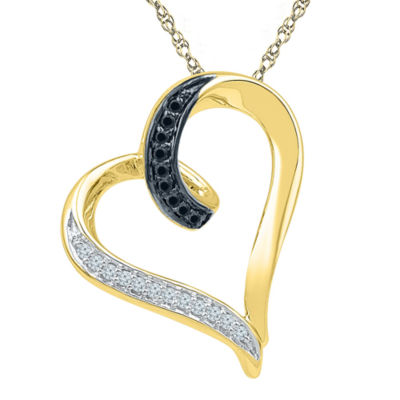 White and color enhanced black diamond accent 10k yellow gold heart white and color enhanced black diamond accent 10k yellow gold heart pendant necklace aloadofball Images