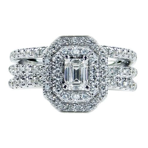Womens 1/2 CT. T.W. Genuine Emerald White Diamond 14K Gold Engagement Ring