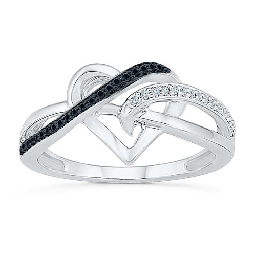 Womens 1/8 CT. T.W. White and Color Enhanced Black Diamond Sterling Silver Cocktail Ring