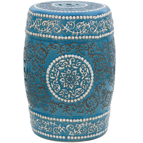 Oriental Furniture Medallion Porcelain Patio Garden Stool