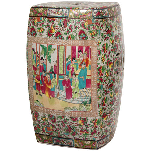 Oriental Furniture Rose Medallion Square PorcelainPatio Garden Stool