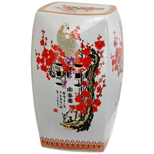 Oriental Furniture Square Cherry Blossom PorcelainPatio Garden Stool