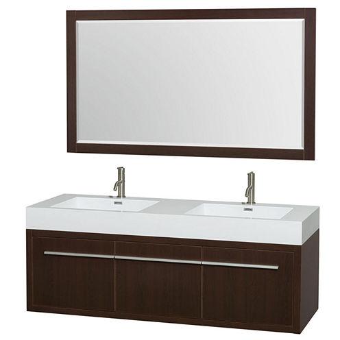 Axa 60 inch Double Bathroom Vanity; Acrylic ResinCountertop; Integrated Sinks; and 58 inch Mirror