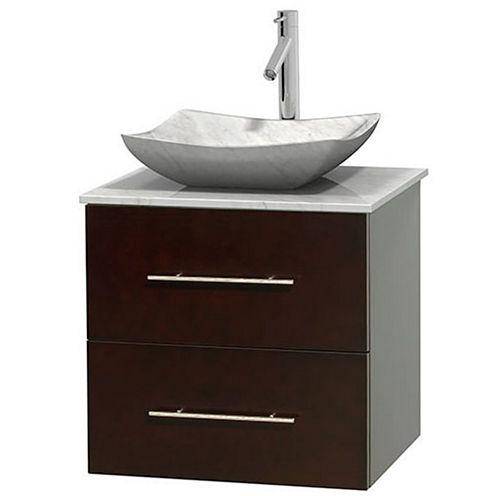 Centra 24 inch Single Bathroom Vanity; White Carrera Marble Countertop; Avalon White Carrera MarbleSink; and No Mirror