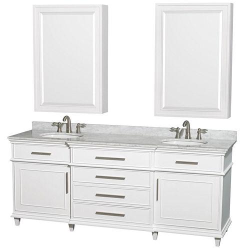 Berkeley 80 inch Double Bathroom Vanity; White Carrera Marble Countertop; Undermount Round Sinks; 24inch Medicine Cabinets